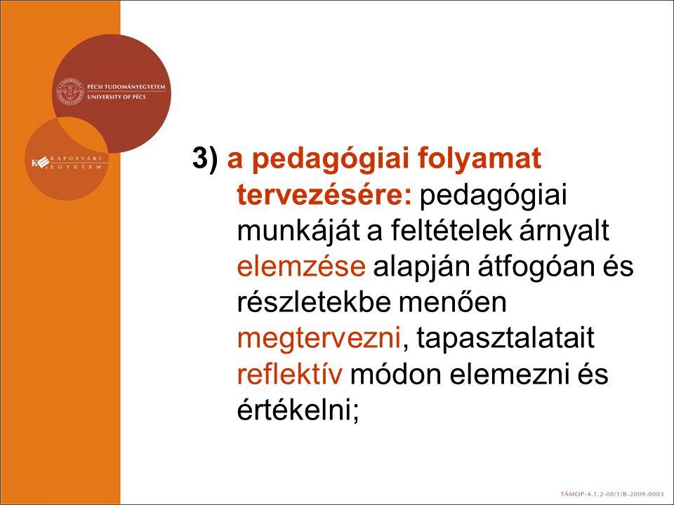3) a pedagógiai folyamat tervezésére: pedagógiai munkáját a feltételek árnyalt elemzése alapján átfogóan és részletekbe menően megtervezni, tapasztalatait reflektív módon elemezni és értékelni;