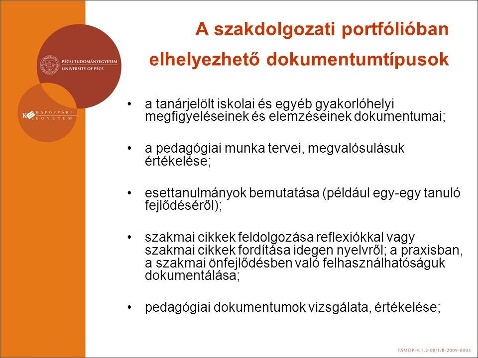 A szakdolgozati portfólióban elhelyezhető dokumentumtípusok