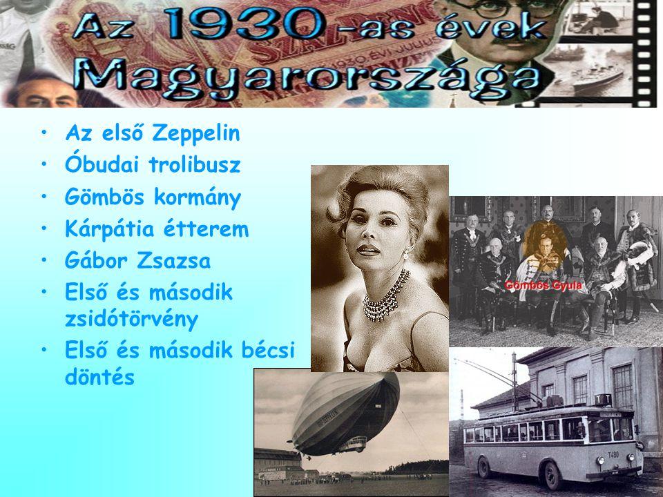 Az első Zeppelin Óbudai trolibusz. Gömbös kormány. Kárpátia étterem. Gábor Zsazsa. Első és második zsidótörvény.