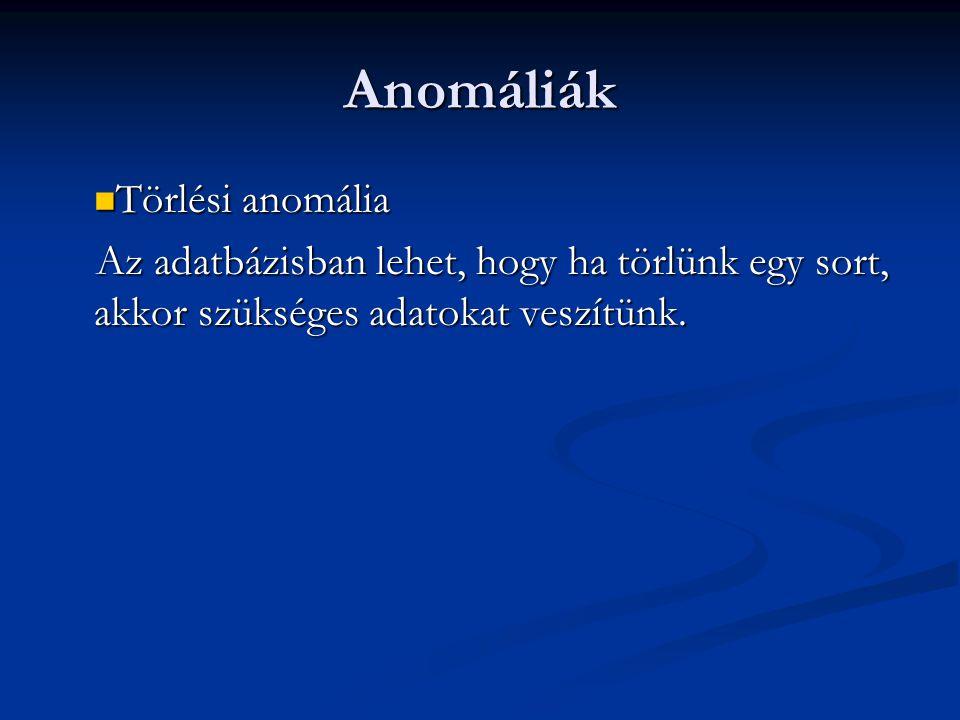Anomáliák Törlési anomália
