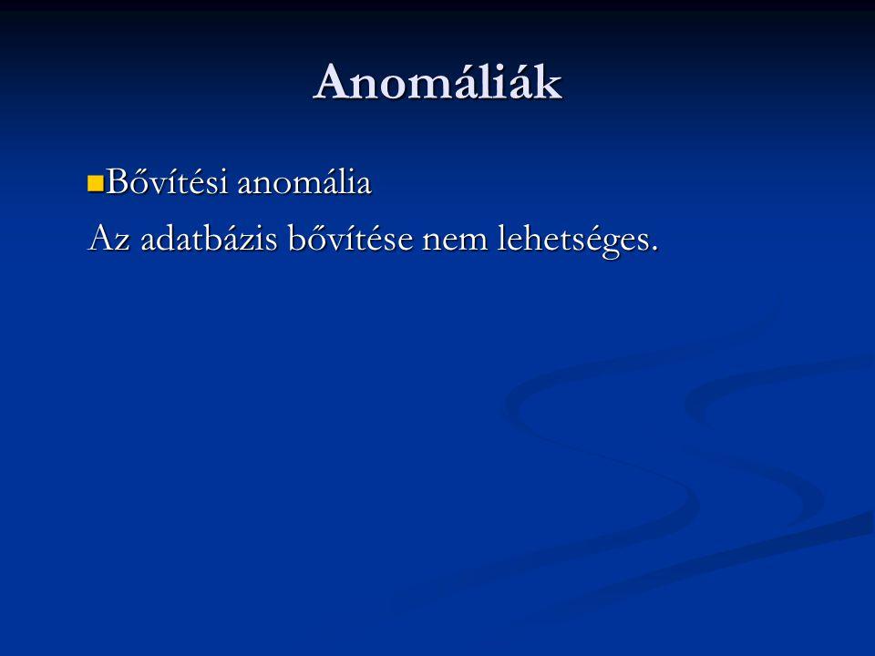 Anomáliák Bővítési anomália Az adatbázis bővítése nem lehetséges.