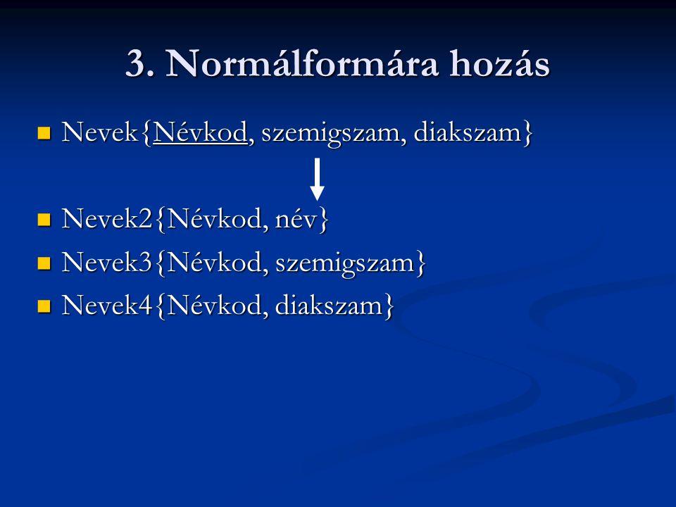 3. Normálformára hozás Nevek{Névkod, szemigszam, diakszam}
