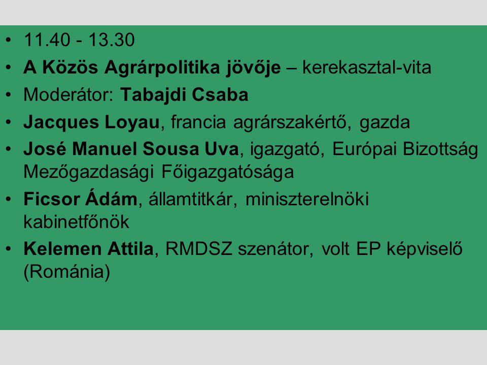 11.40 - 13.30 A Közös Agrárpolitika jövője – kerekasztal-vita. Moderátor: Tabajdi Csaba. Jacques Loyau, francia agrárszakértő, gazda.
