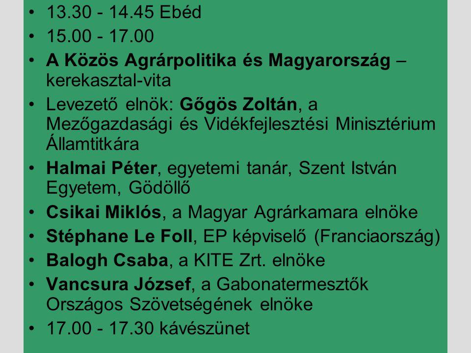 13.30 - 14.45 Ebéd 15.00 - 17.00. A Közös Agrárpolitika és Magyarország – kerekasztal-vita.