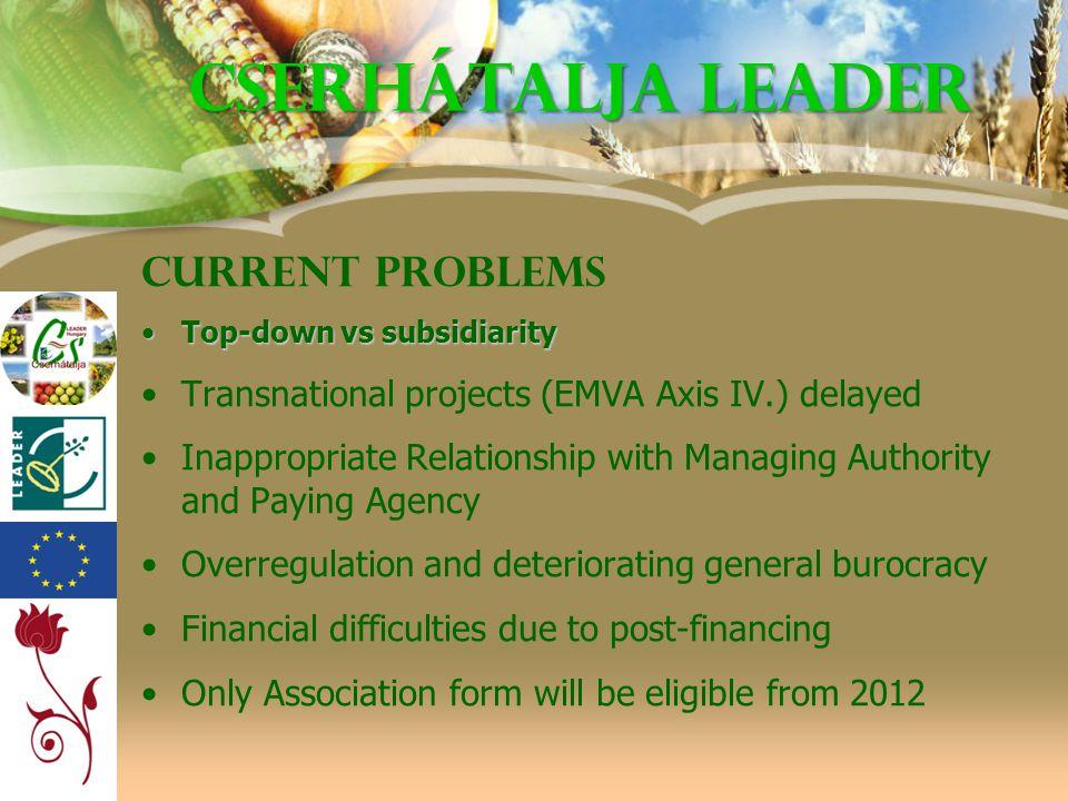 Cserhátalja LEADER Current problems