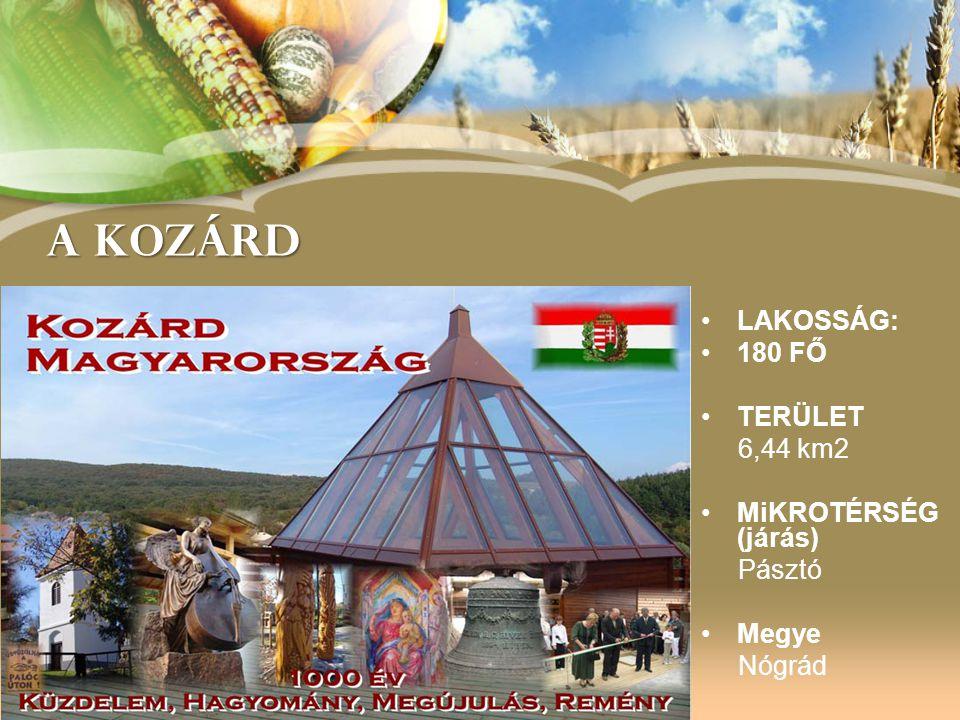 A KOZÁRD LAKOSSÁG: 180 FŐ TERÜLET 6,44 km2 MiKROTÉRSÉG (járás) Pásztó