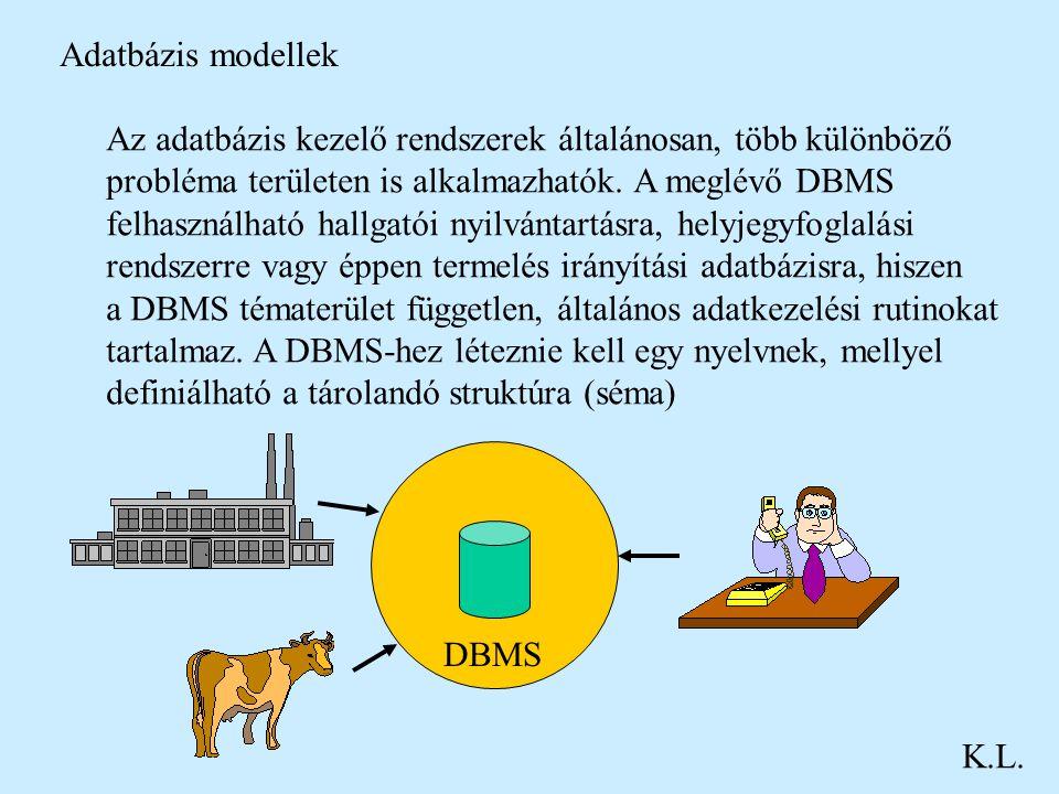 Adatbázis modellek Az adatbázis kezelő rendszerek általánosan, több különböző. probléma területen is alkalmazhatók. A meglévő DBMS.