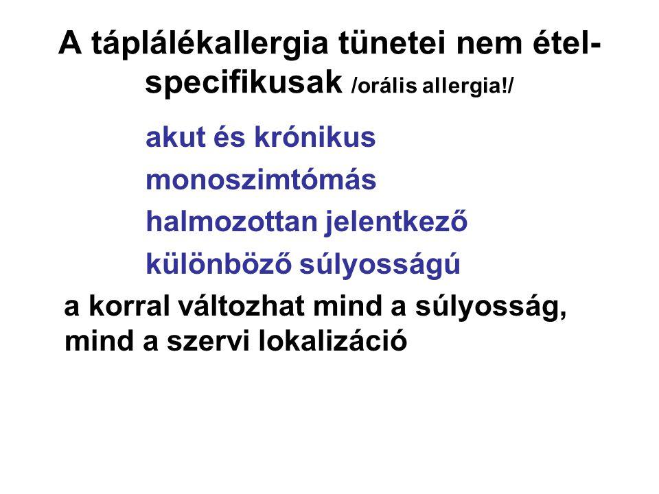 A táplálékallergia tünetei nem étel-specifikusak /orális allergia!/