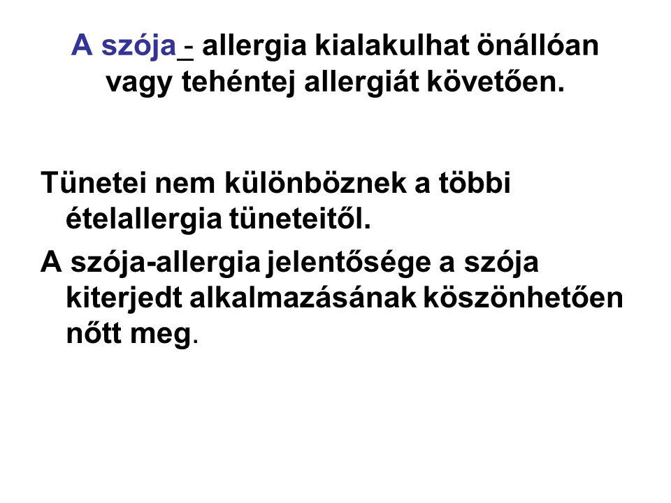 A szója - allergia kialakulhat önállóan vagy tehéntej allergiát követően.