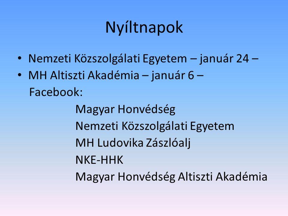 Nyíltnapok Nemzeti Közszolgálati Egyetem – január 24 –