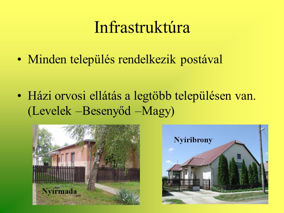 Infrastruktúra Minden település rendelkezik postával