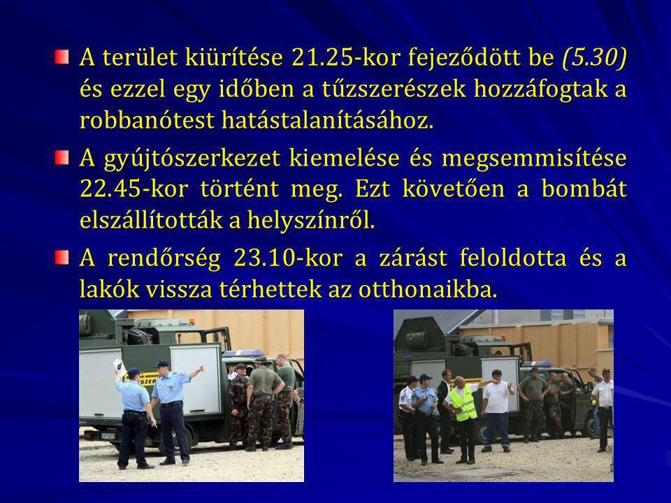 A terület kiürítése 21. 25-kor fejeződött be (5