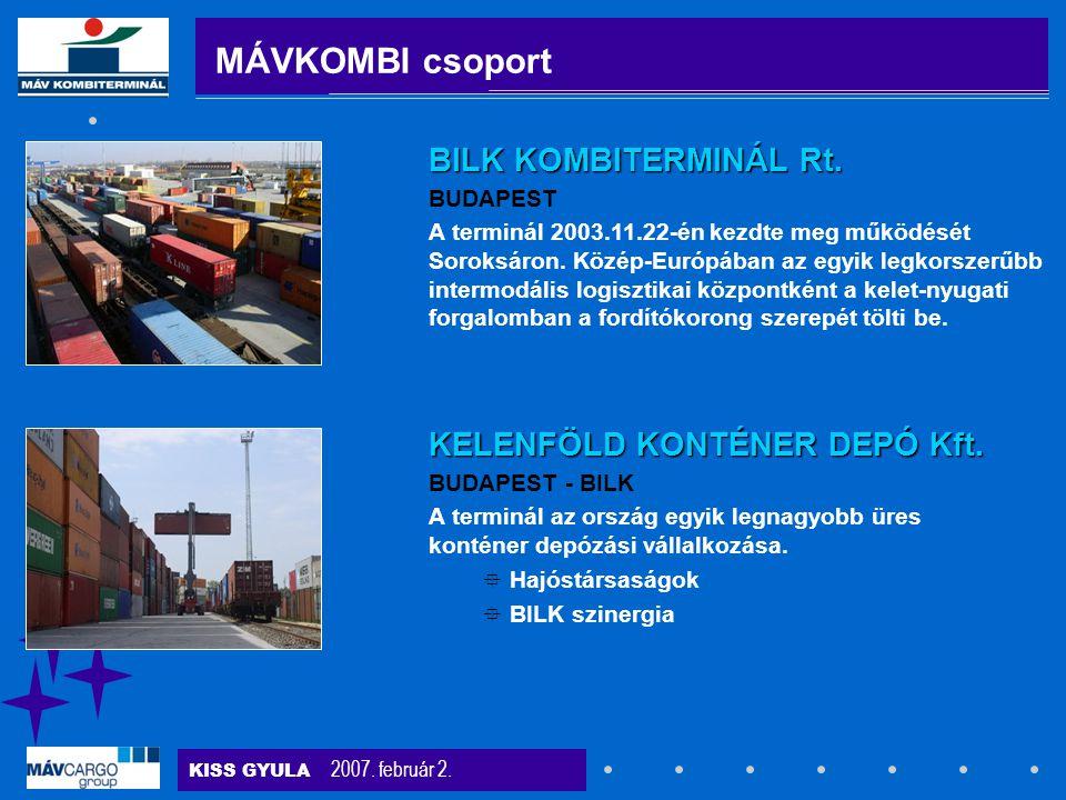 MÁVKOMBI csoport BILK KOMBITERMINÁL Rt. KELENFÖLD KONTÉNER DEPÓ Kft.