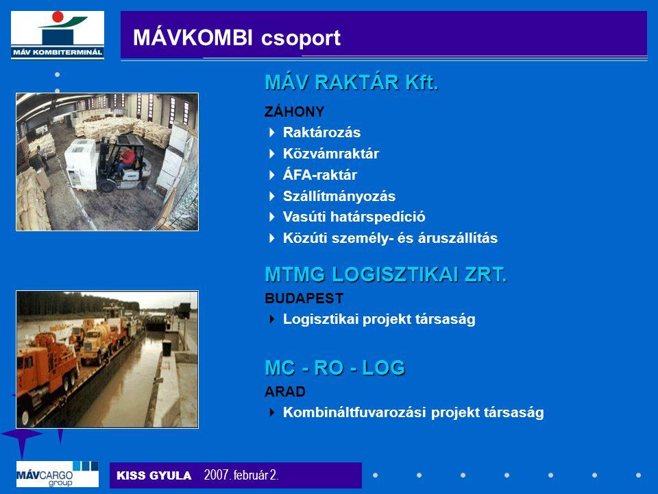 MÁVKOMBI csoport MÁV RAKTÁR Kft. MTMG LOGISZTIKAI ZRT. MC - RO - LOG
