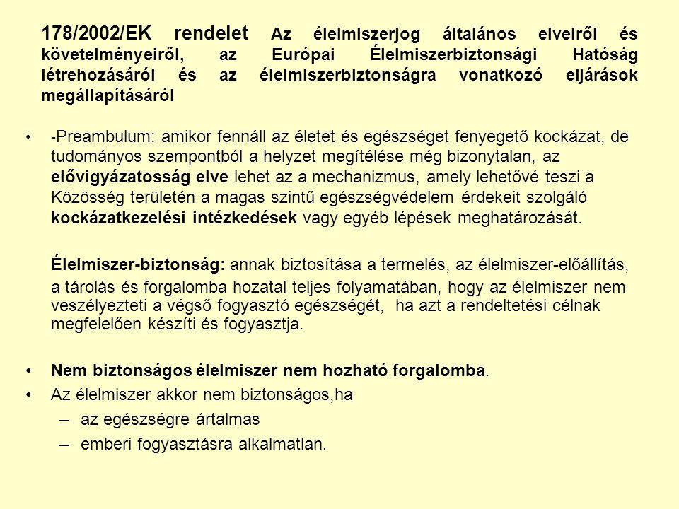 178/2002/EK rendelet Az élelmiszerjog általános elveiről és követelményeiről, az Európai Élelmiszerbiztonsági Hatóság létrehozásáról és az élelmiszerbiztonságra vonatkozó eljárások megállapításáról