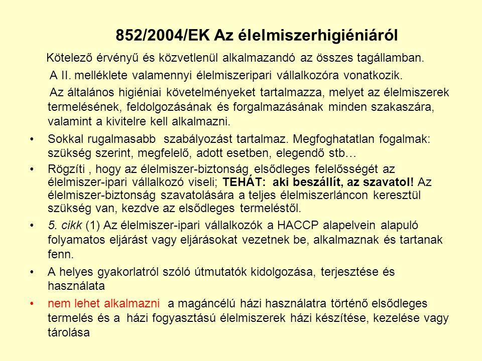 852/2004/EK Az élelmiszerhigiéniáról