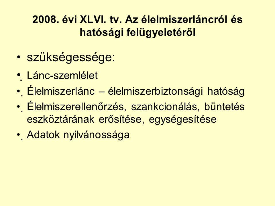 2008. évi XLVI. tv. Az élelmiszerláncról és hatósági felügyeletéről