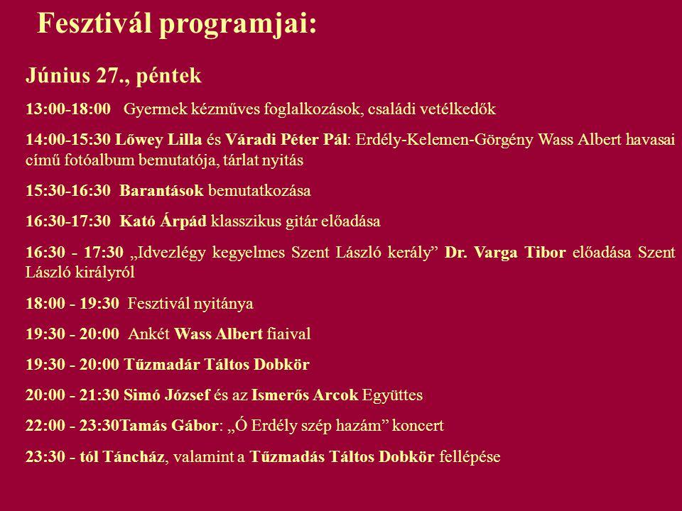 Fesztivál programjai: