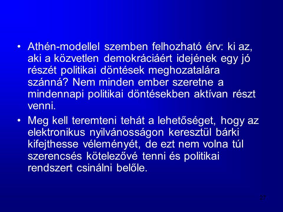 Athén-modellel szemben felhozható érv: ki az, aki a közvetlen demokráciáért idejének egy jó részét politikai döntések meghozatalára szánná Nem minden ember szeretne a mindennapi politikai döntésekben aktívan részt venni.