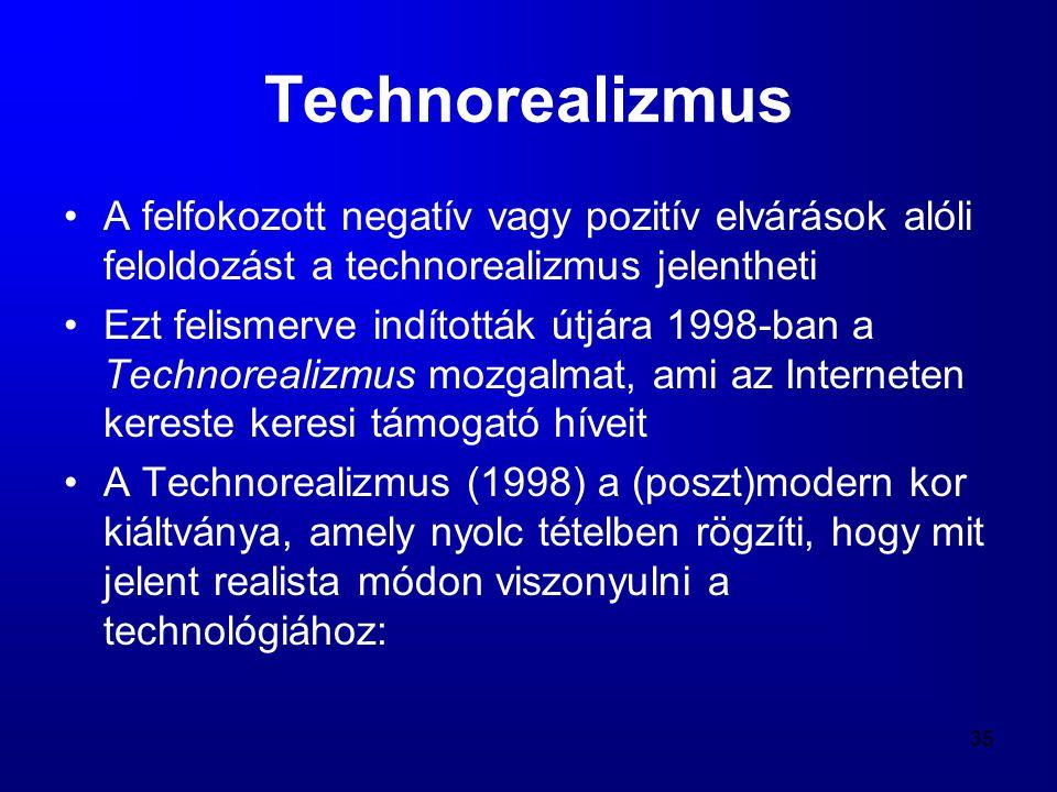 Technorealizmus A felfokozott negatív vagy pozitív elvárások alóli feloldozást a technorealizmus jelentheti.