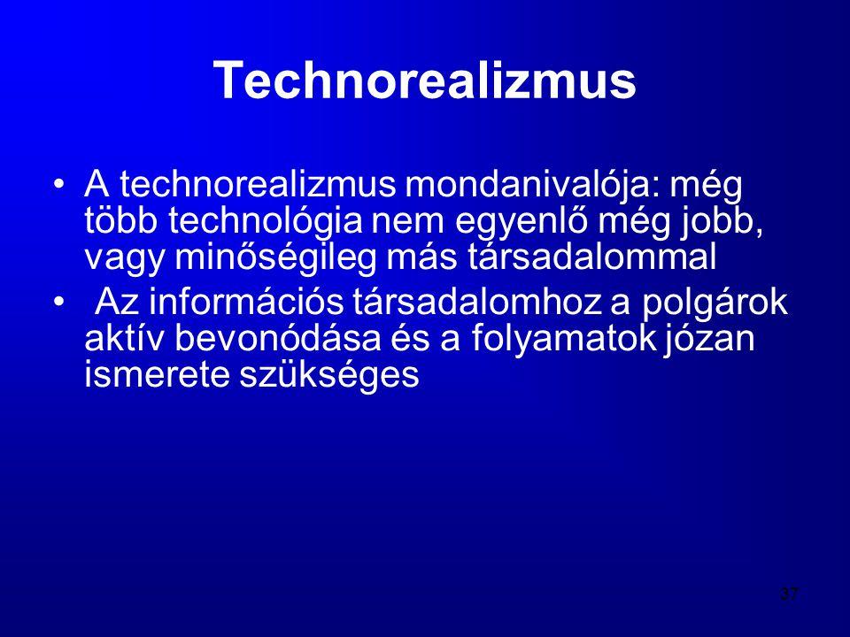Technorealizmus A technorealizmus mondanivalója: még több technológia nem egyenlő még jobb, vagy minőségileg más társadalommal.