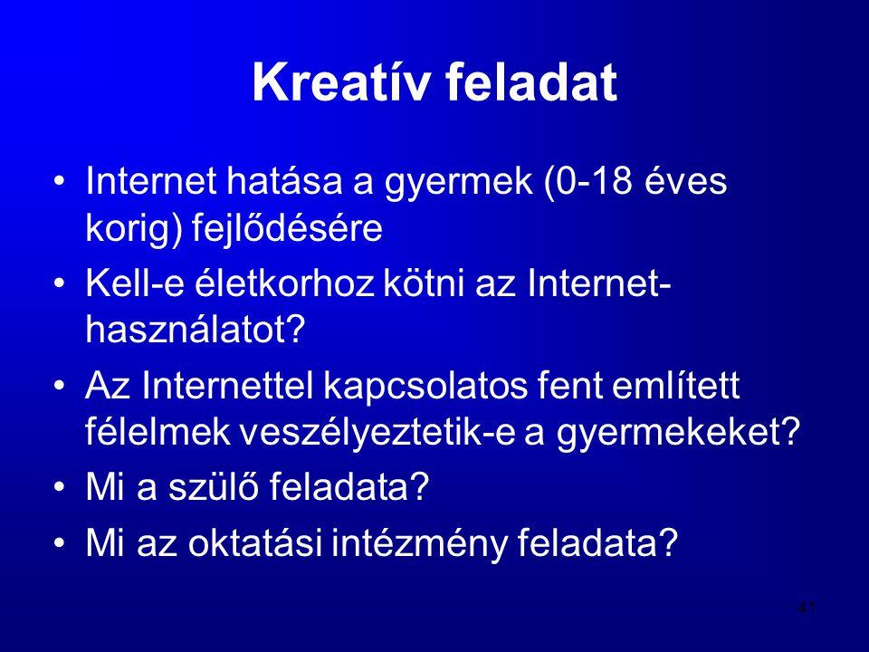Kreatív feladat Internet hatása a gyermek (0-18 éves korig) fejlődésére. Kell-e életkorhoz kötni az Internet-használatot