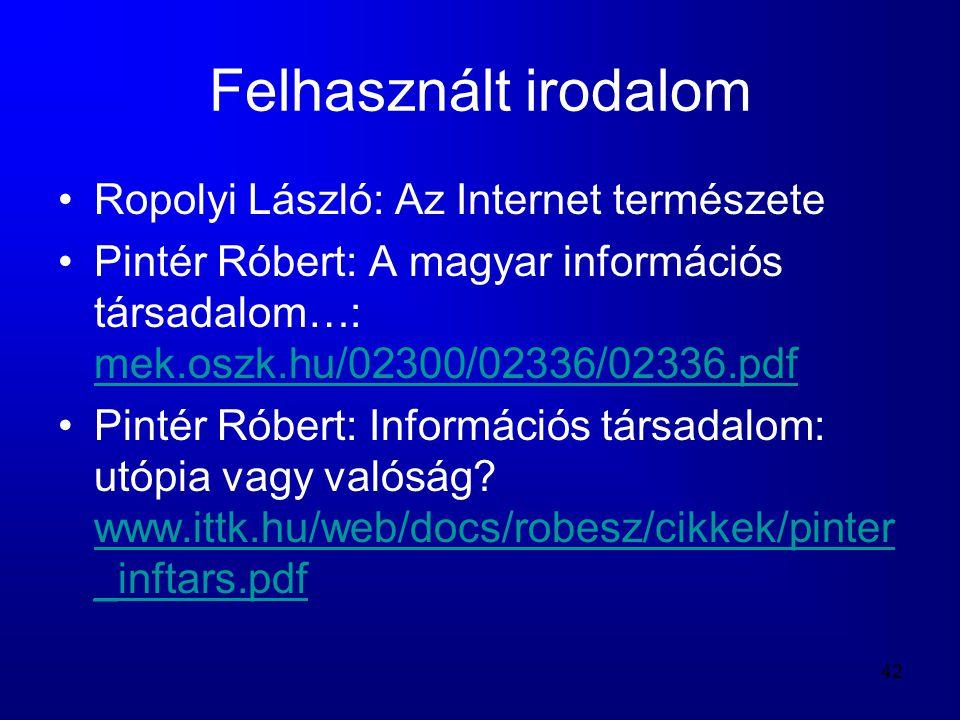 Felhasznált irodalom Ropolyi László: Az Internet természete