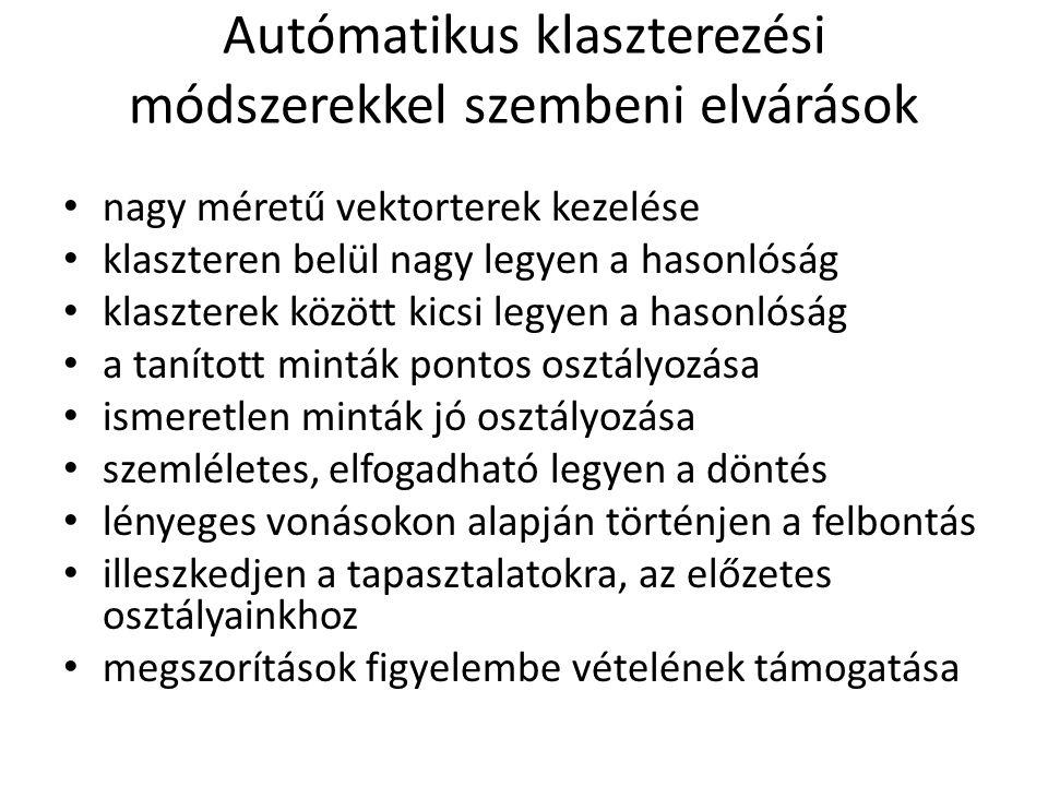 Autómatikus klaszterezési módszerekkel szembeni elvárások
