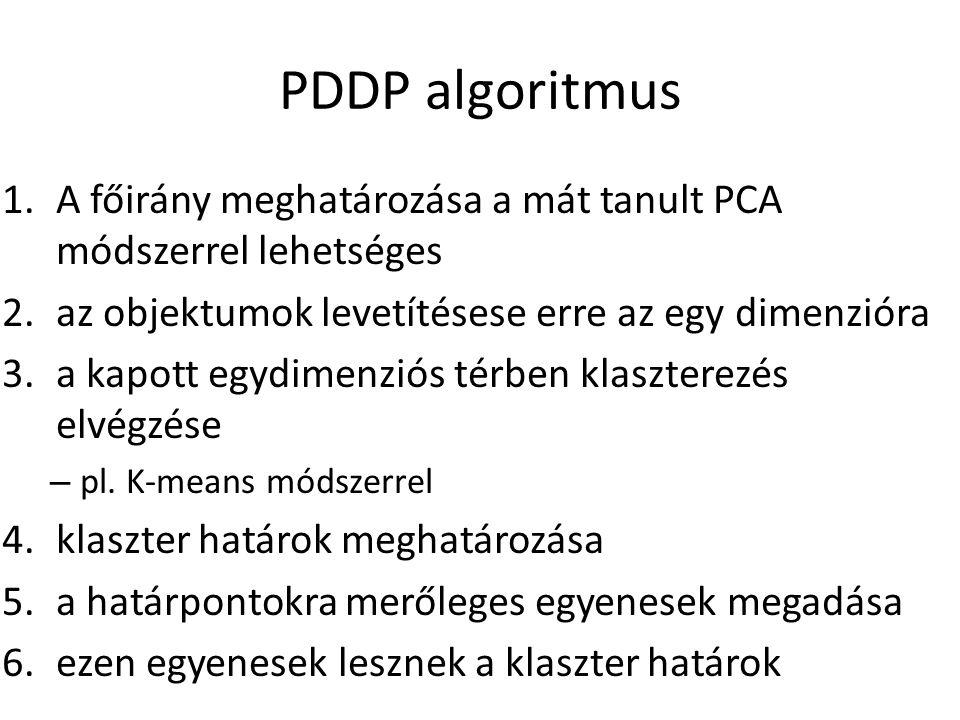 PDDP algoritmus A főirány meghatározása a mát tanult PCA módszerrel lehetséges. az objektumok levetítésese erre az egy dimenzióra.