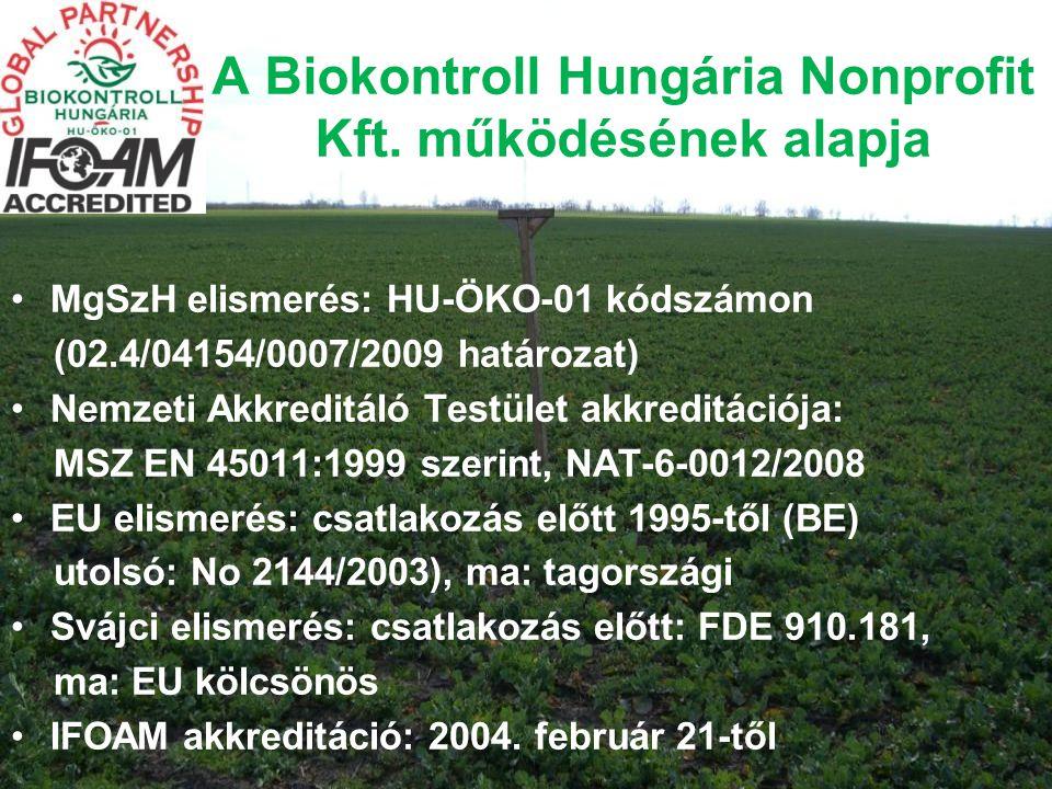 A Biokontroll Hungária Nonprofit Kft. működésének alapja