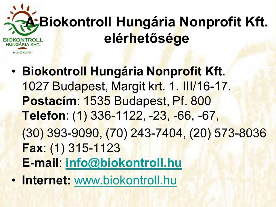 A Biokontroll Hungária Nonprofit Kft. elérhetősége