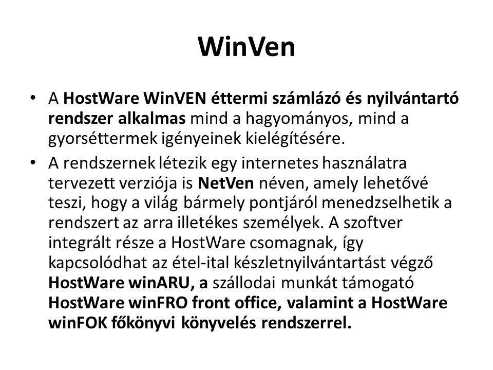 WinVen A HostWare WinVEN éttermi számlázó és nyilvántartó rendszer alkalmas mind a hagyományos, mind a gyorséttermek igényeinek kielégítésére.