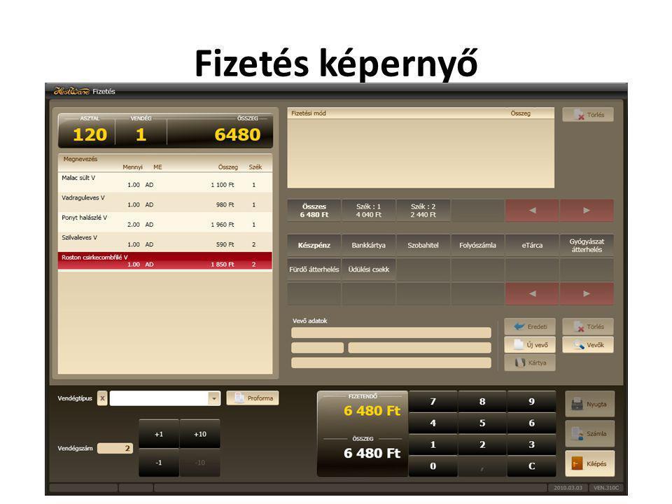 Fizetés képernyő