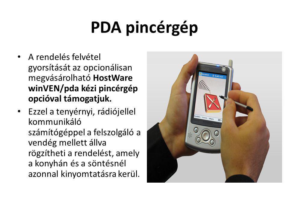 PDA pincérgép A rendelés felvétel gyorsítását az opcionálisan megvásárolható HostWare winVEN/pda kézi pincérgép opcióval támogatjuk.