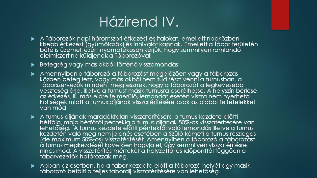 Házirend IV.
