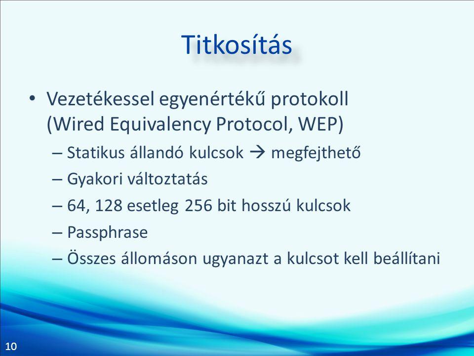Titkosítás Vezetékessel egyenértékű protokoll (Wired Equivalency Protocol, WEP) Statikus állandó kulcsok  megfejthető.
