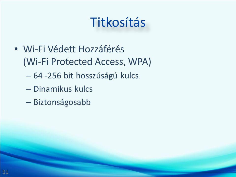 Titkosítás Wi-Fi Védett Hozzáférés (Wi-Fi Protected Access, WPA)