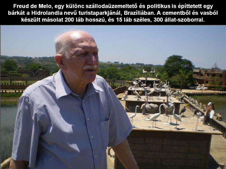 Freud de Melo, egy különc szállodaüzemeltető és politikus is építtetett egy bárkát a Hidrolandia nevű turistaparkjánál, Brazíliában.