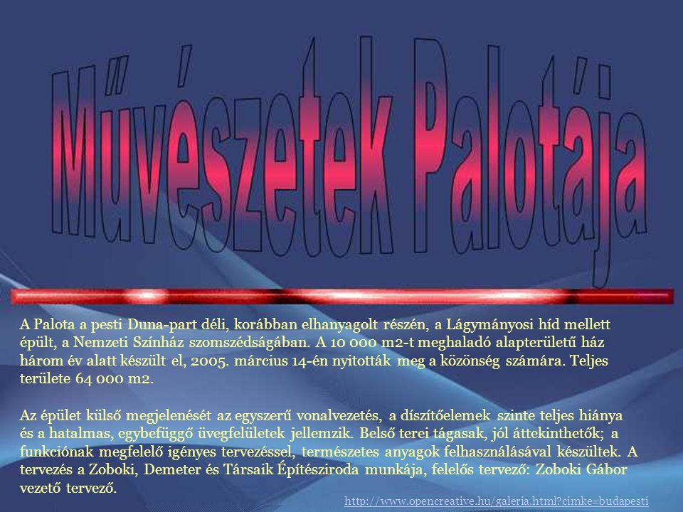 A Palota a pesti Duna-part déli, korábban elhanyagolt részén, a Lágymányosi híd mellett épült, a Nemzeti Színház szomszédságában. A 10 000 m2-t meghaladó alapterületű ház három év alatt készült el, 2005. március 14-én nyitották meg a közönség számára. Teljes területe 64 000 m2.