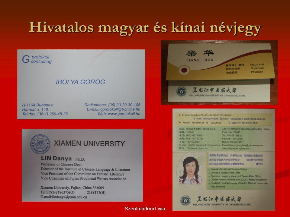 Hivatalos magyar és kínai névjegy