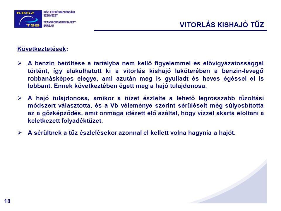 VITORLÁS KISHAJÓ TŰZ Következtetések: