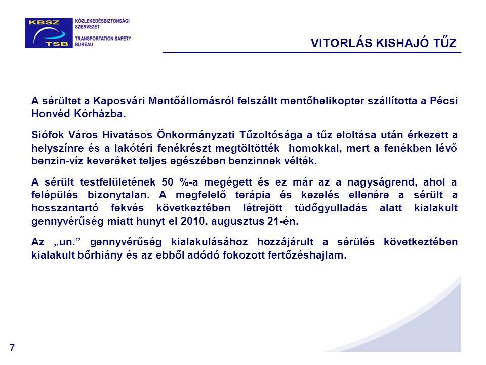 VITORLÁS KISHAJÓ TŰZ A sérültet a Kaposvári Mentőállomásról felszállt mentőhelikopter szállította a Pécsi Honvéd Kórházba.