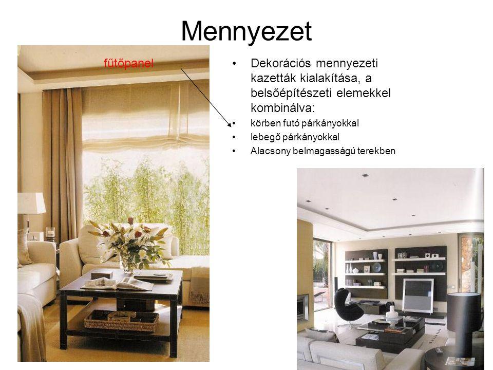 Mennyezet fűtőpanel. Dekorációs mennyezeti kazetták kialakítása, a belsőépítészeti elemekkel kombinálva:
