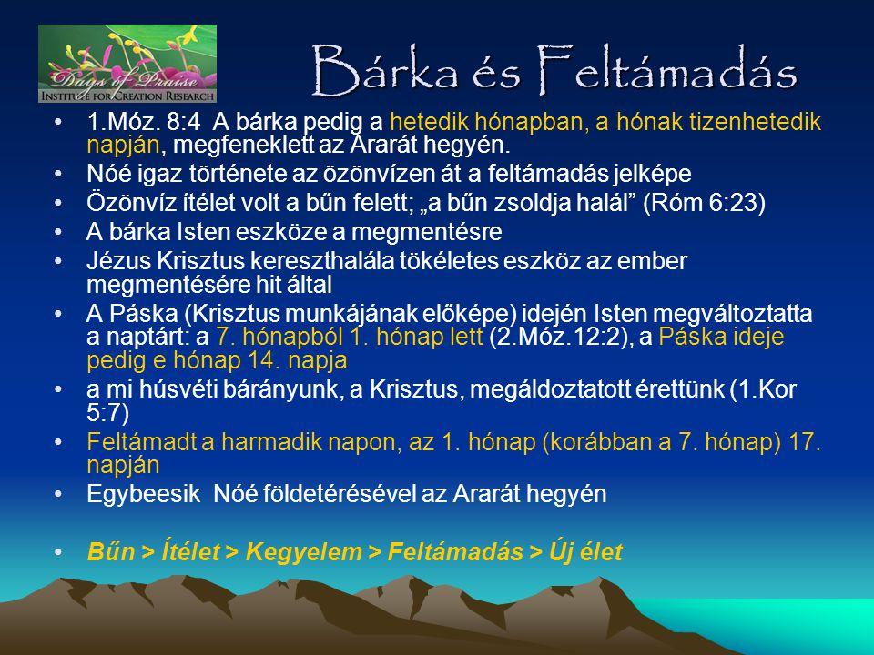 Bárka és Feltámadás 1.Móz. 8:4 A bárka pedig a hetedik hónapban, a hónak tizenhetedik napján, megfeneklett az Ararát hegyén.