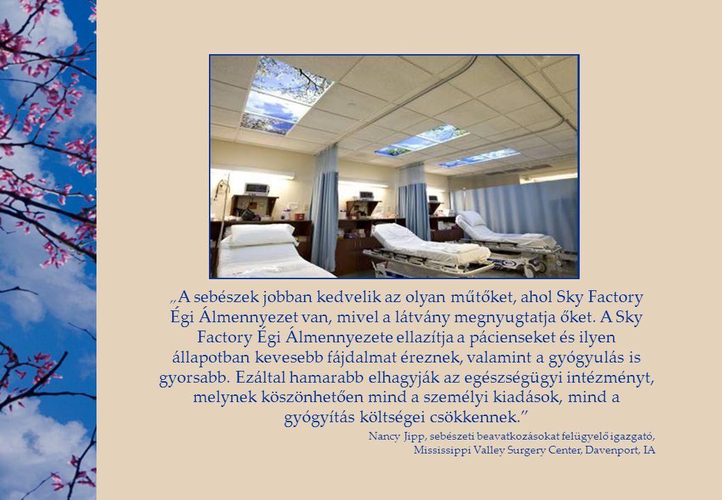 """""""A sebészek jobban kedvelik az olyan műtőket, ahol Sky Factory Égi Álmennyezet van, mivel a látvány megnyugtatja őket. A Sky Factory Égi Álmennyezete ellazítja a pácienseket és ilyen állapotban kevesebb fájdalmat éreznek, valamint a gyógyulás is gyorsabb. Ezáltal hamarabb elhagyják az egészségügyi intézményt, melynek köszönhetően mind a személyi kiadások, mind a gyógyítás költségei csökkennek."""