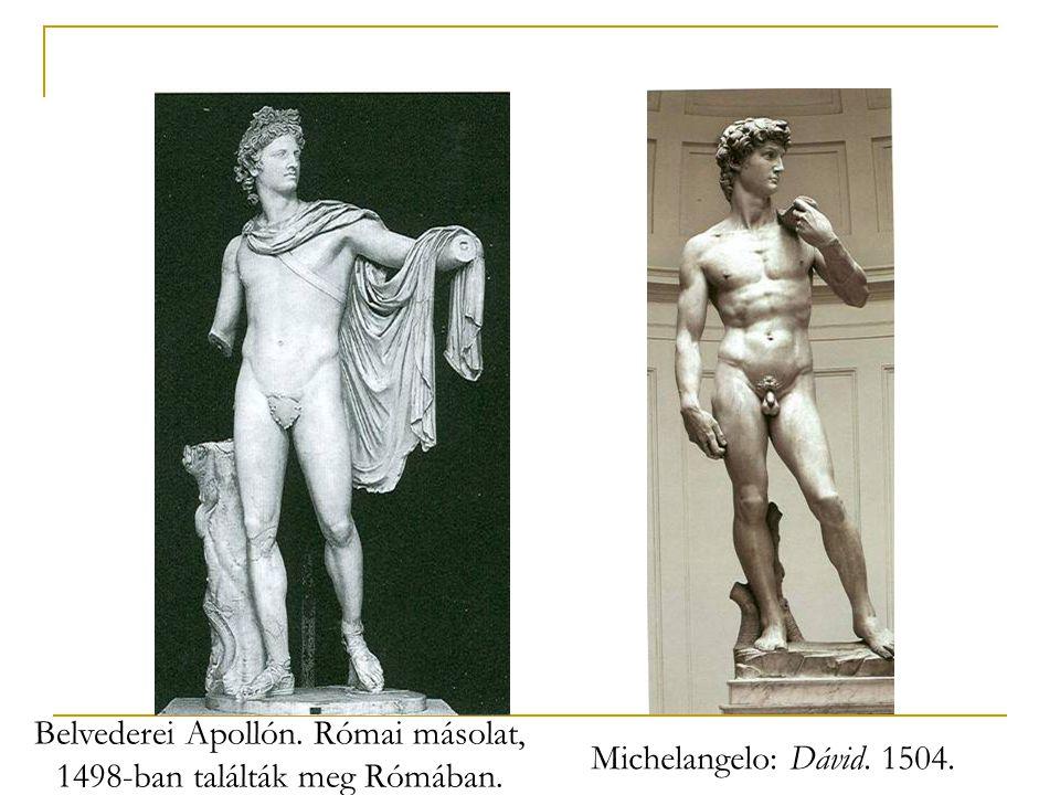 Belvederei Apollón. Római másolat, 1498-ban találták meg Rómában.