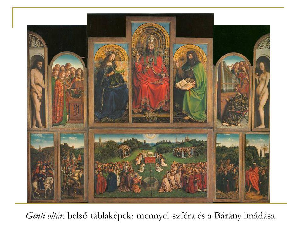 Genti oltár, belső táblaképek: mennyei szféra és a Bárány imádása