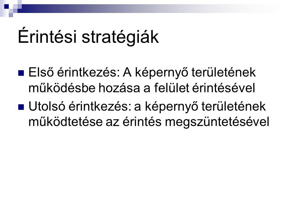 Érintési stratégiák Első érintkezés: A képernyő területének működésbe hozása a felület érintésével.