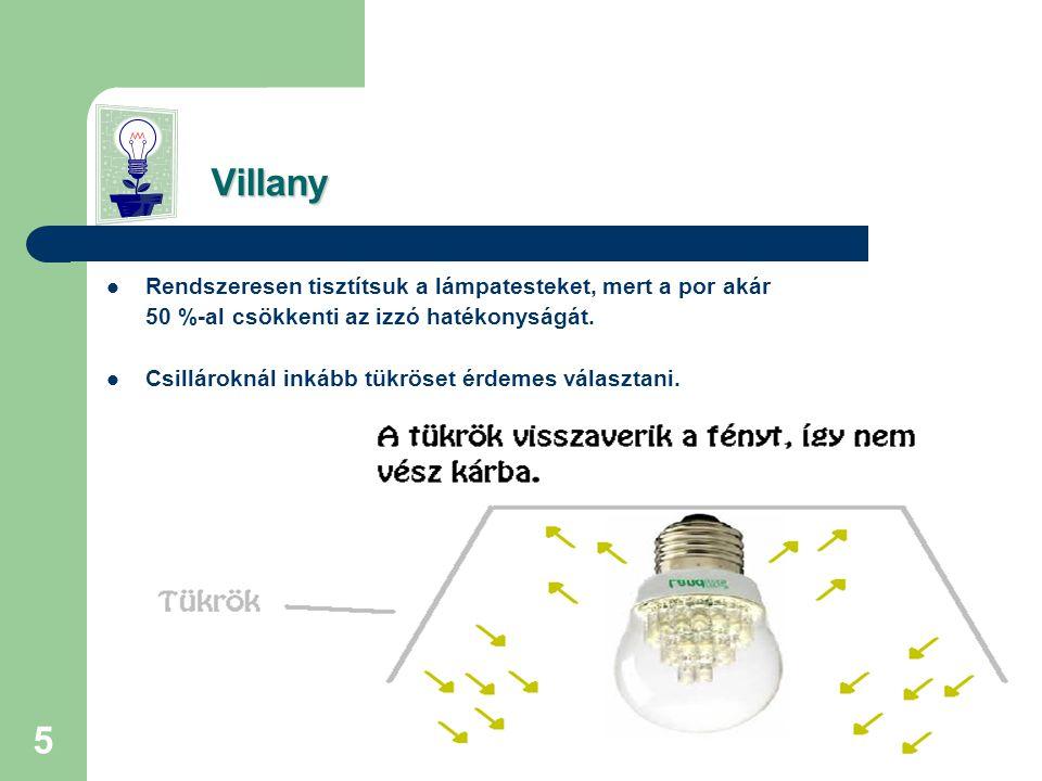 Villany Rendszeresen tisztítsuk a lámpatesteket, mert a por akár