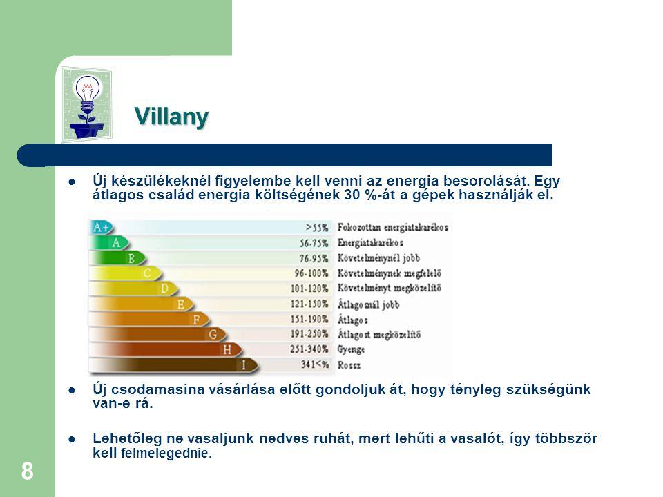 Villany Új készülékeknél figyelembe kell venni az energia besorolását. Egy átlagos család energia költségének 30 %-át a gépek használják el.